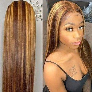 Выделите парик человеческих волос 613 фронтальной 13x1 Синтетические волосы на кружеве эффектом деграде (переход от темного к наращивания бло...