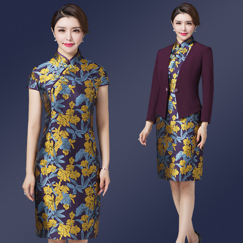 Vintage Retro Dress Suits For Women Qipao Slim Bodycon Midi Dress Office Ladies Mom Mother Formal Work Wedding Wear 2 Piece Set