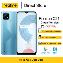 Realme – téléphone portable C21, écran HD de 6.5 pouces, smartphone, mémoire de 4GB et 64GB, Helio G35 Octa Core, NFC, Triple caméra de 13mp, batterie de 5000mAh, 3 emplacements pour cartes