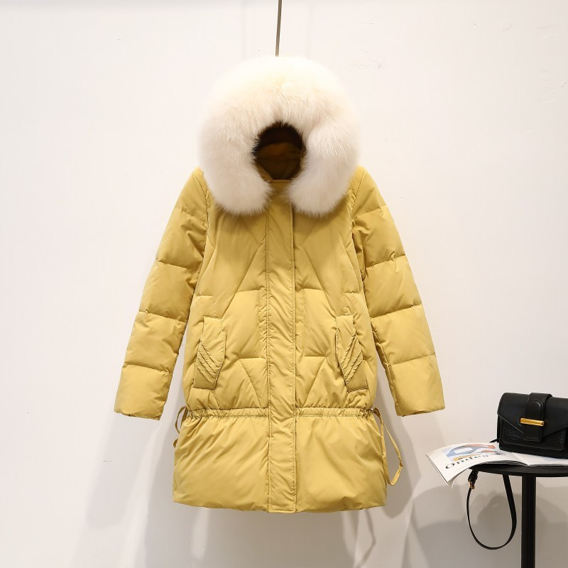 White Duck Down Jacket Women Parka Winter Coat Women Fox Fur Collar Down Coat Korean Puffer Jacket Casaco ZQ1946 YY1421