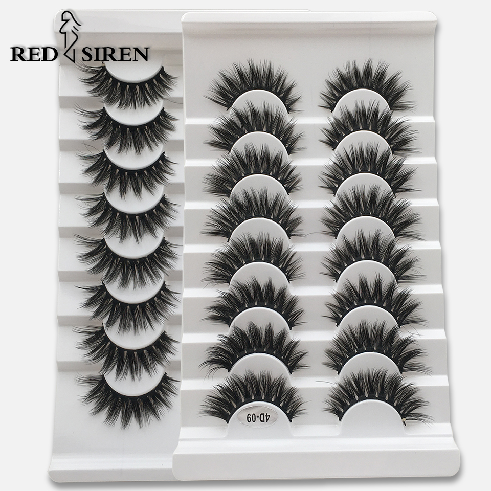 RED SIREN – faux-cils en vison 3D, Extension de maquillage, longs, naturels, 8 paires