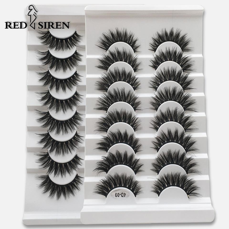 RED SIREN 8 Pairs Faux 3D Mink Lashes Natural Long False Eyelashes Volume Fake Lashes Makeup Extension Eyelashes Maquiagem