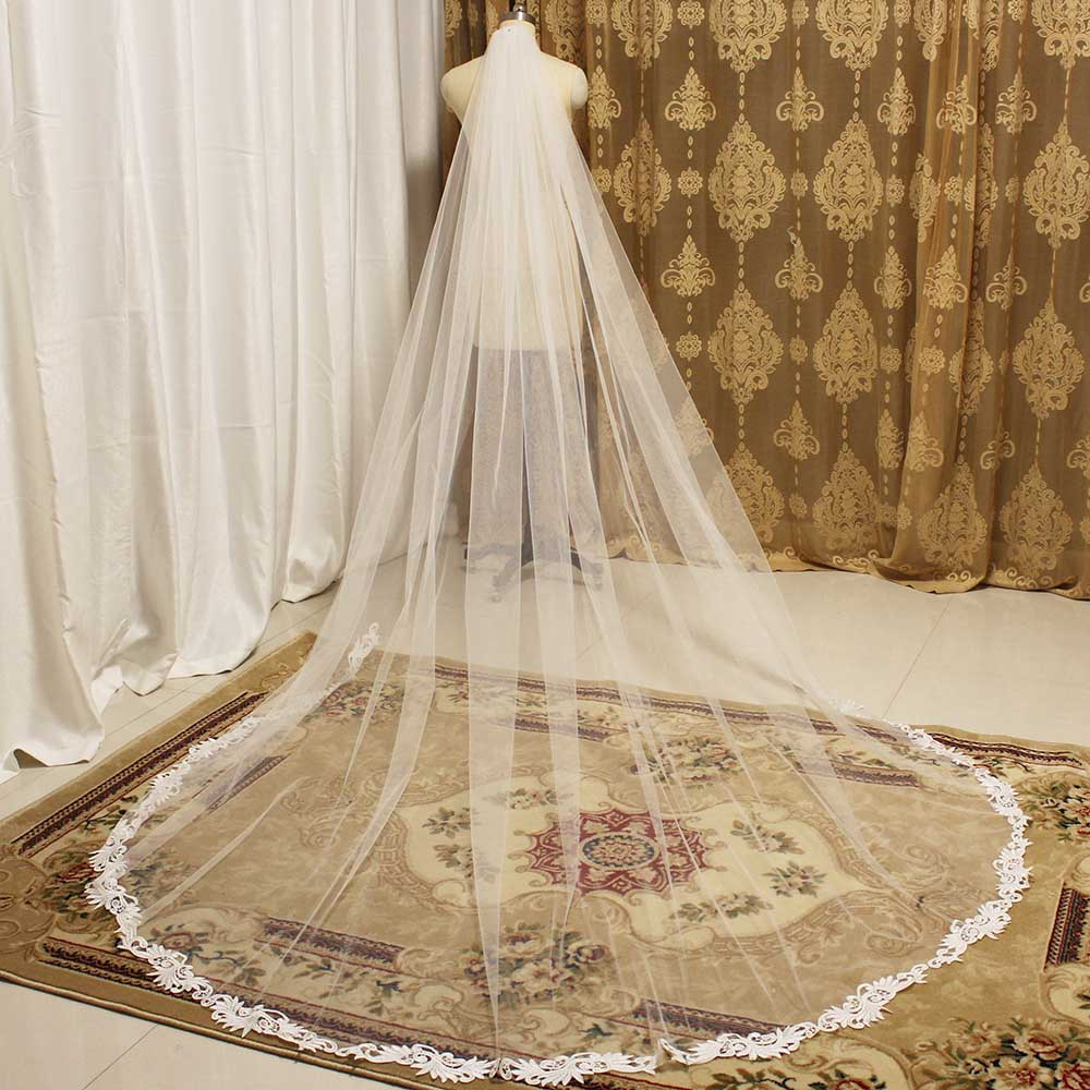 Lace Appliques Elegant Ivory Wedding Veil 3 Meters Cathedral Bridal Veil With Comb One Layer Long Veil For Bride Accessories