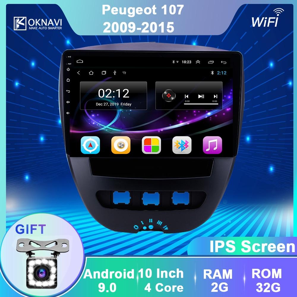 Oknavi kit multimídia automotivo, android 9.0, com reprodutor de vídeos, para peugeot 107, toyota, aygo, citroen c1, 2005-2014, rádio, estéreo, gps bt navegação bt