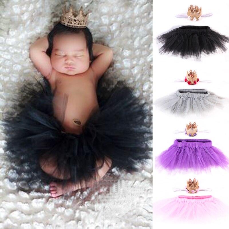 Newborn Baby Girl Skirt Photography Clothing Infant Tutu Lace Skirt Crown Headband Bebe Princess Pettiskirts  Photo Costumes