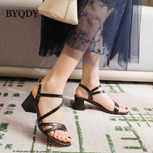 BYQDY New 2020 Narrow Band PU Leather High Heel Sandals Ankle Strap Peep Toe Shoes Buckle Thick Heel Sandals Lady Summer Black ankle peep toe high heel newest real photo sandals hot sale side angle wing thin heel white black summer party cut out women