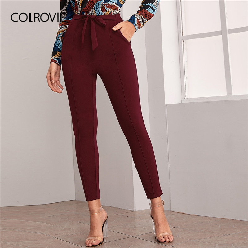 COLROVIE Burgundy Seam Front Slant Pocket Belted Pants Women Skinny Elastic Waist Trousers 2020 Spring Solid Elegant Pants