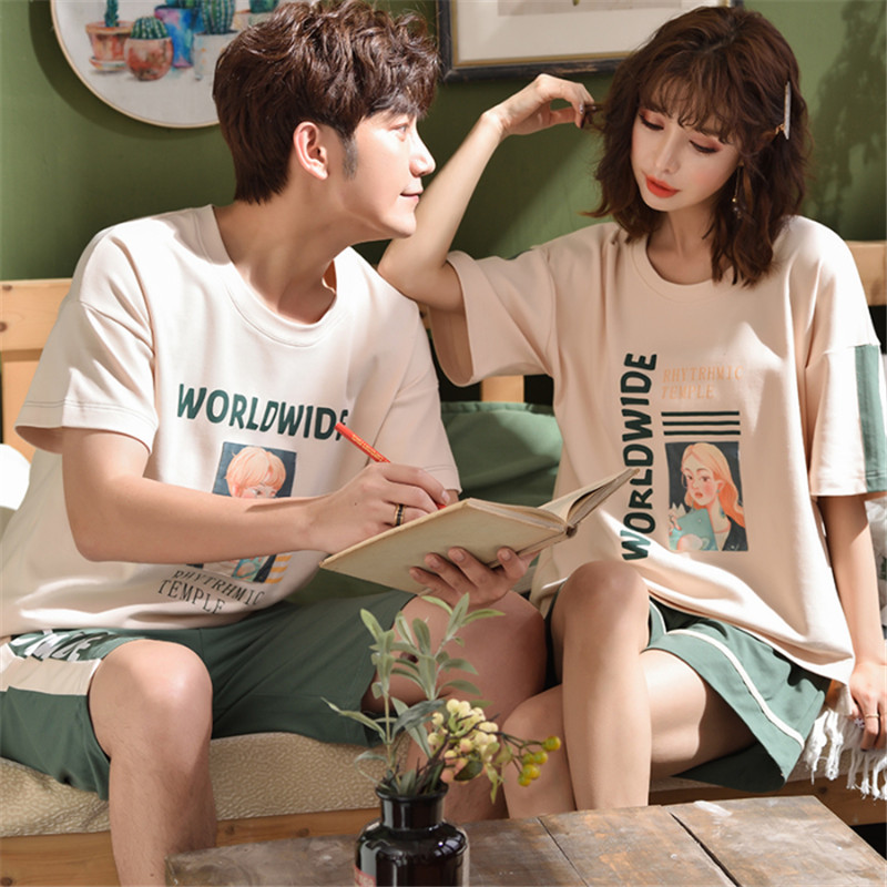 2020 Pajamas Men's Summer Knitted Cotton Fabric Couple Short-sleeved Shorts Cartoon Women's Nightdress Home Service Couple Suit