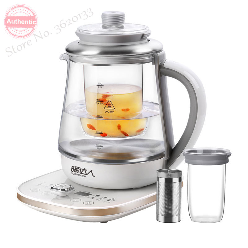 Thermal Insulation Electric Kettle Timed  Glass Health Preserving Pot  Flower Tea Brewer 1.8L Microcomputer Control 1200W 220V