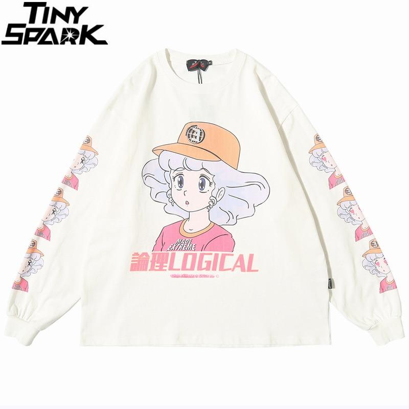 2020 Men Hip Hop T Shirt Streetwear Cartoon Girl Print Harajuku Tshirt HipHop Oversize T-shirt Anime Cotton Tops Tee Long Sleeve