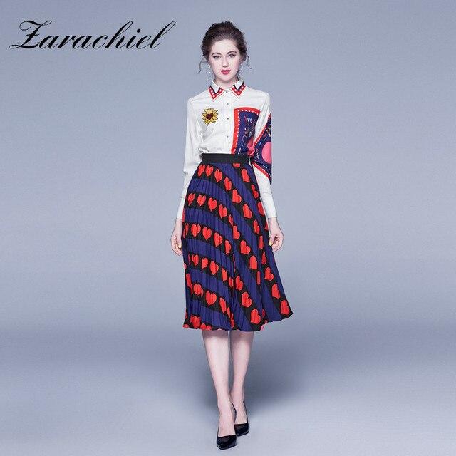 Fashion Designer Heart Shaped Skirt Suit 2020 Spring Autumn Women Long Sleeve Shirt Blouse Long Striped Love Pleated Skirt Set Women S Sets Aliexpress