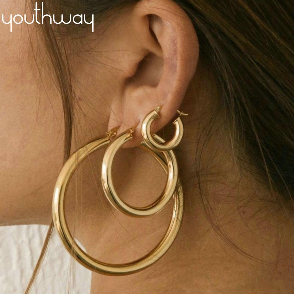 22mm 29mm 50mm Huggie Earrings Thick Gold Filled Brass Hoop Earrings Big Large Metal Smooth Earring Ladies Minimalist Jewelry