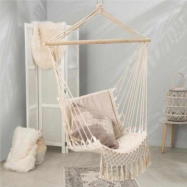 Nordic Style Home Garden Hanging Hammock Tassel Hammock Chair Outdoor Indoor Dormitory Swing Hanging Chair with Wooden Rod 2