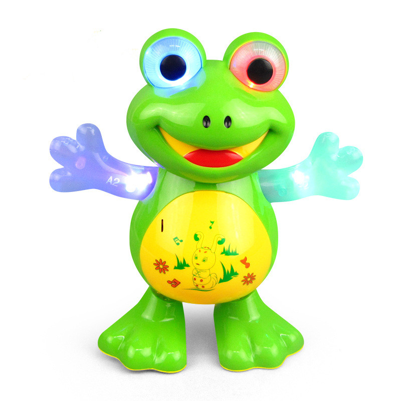 Electric Cartoon Animal Doll Light Sound Moving Music Toy Multi-functional Universal Green Cartoon Frog Funny Gift For Children
