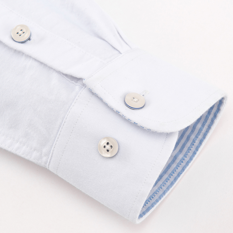 Image 4 - メンズ正規フィット長袖固体オックスフォードコットンシャツ単一のパッチポケット丸いバレル袖口厚いカジュアルボタンダウンシャツカジュアル シャツ   -