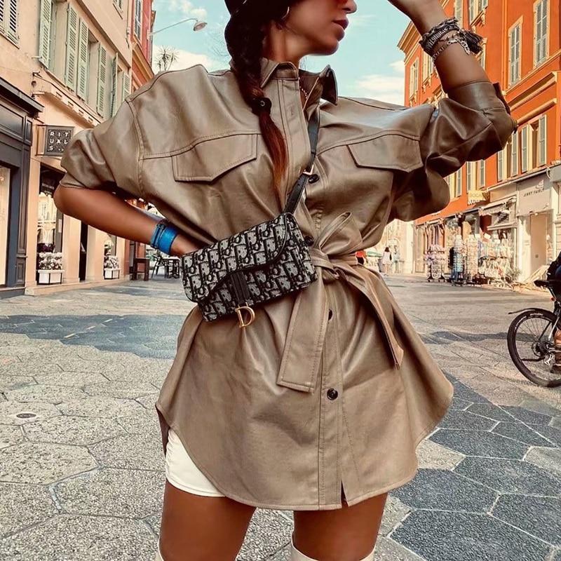 ZXQJ Vintage Women Elegant PU Leather Jackets 2021 Spring Autumn Fashion Ladies Streetwear Coat Casual Female Chic Outwear|Leather Jackets| - AliExpress