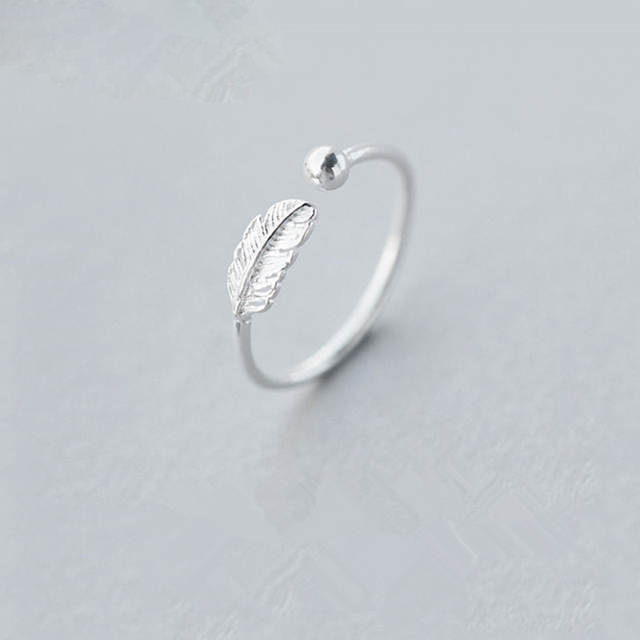 Luxury Vintage Punk 925 Sterling Silver Simple Feather Rings For Women Wedding Statement Finger Ring Anillos Anelli Bijoux