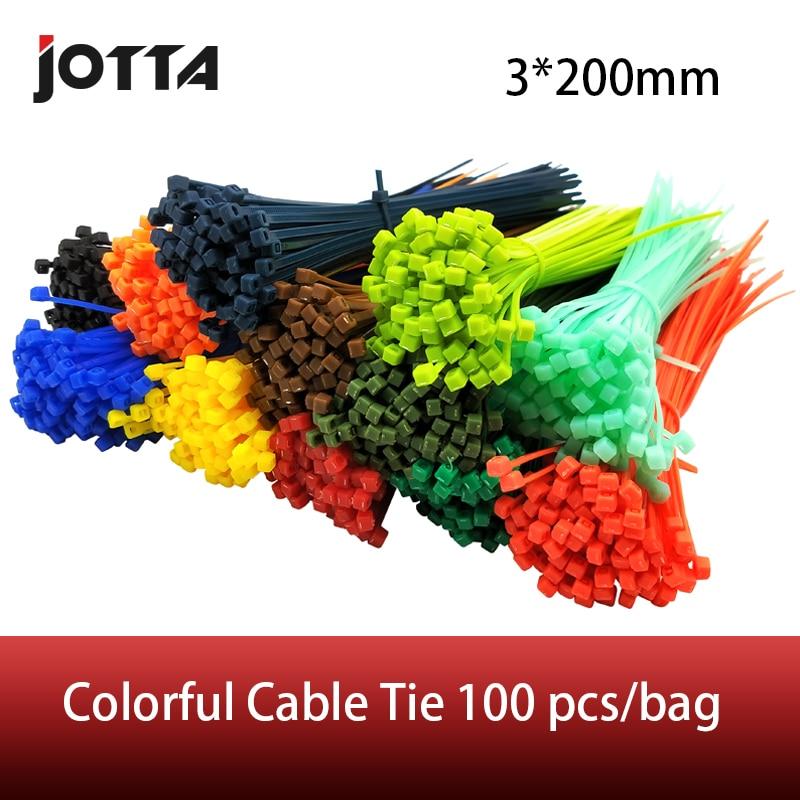 3*200mm Self-locking Nylon Cable Ties 8 Inch 100pcs 12 Color Plastic Zip Tie  Binding Wrap Straps