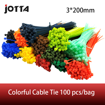 3*200mm Self-locking Nylon Cable Ties 8 inch 100pcs 12 color Plastic Zip Tie  binding wrap straps oullx 100pcs self locking nylon cable ties 2 5 100 200mm plastic zip ties 18 lbs black wire binding wrap straps wire zip tie
