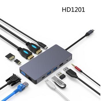 Multi port 3 port USB Adapter HDMI 4K VGA RJ45 Adapter to Splitter HUB USB-C Type C for MacBook USB hub Laptop docking station usb c hub type c usb 3 1 to hdmi 4k adapter converter cable 3 in 1 splitter for apple macbook pro usb c hub hdmi support 4k hd