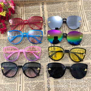 Children Sunglasses Pink Little Bee Toddler Yellow Kids Girls Oculos-De-Sol Cat-Eye Infantil