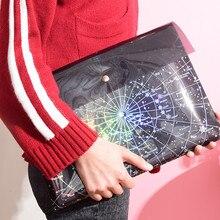 Storage-Bag Folder Support Laser Transparent-Pocket Fantasy School-Stationery Star Bronze