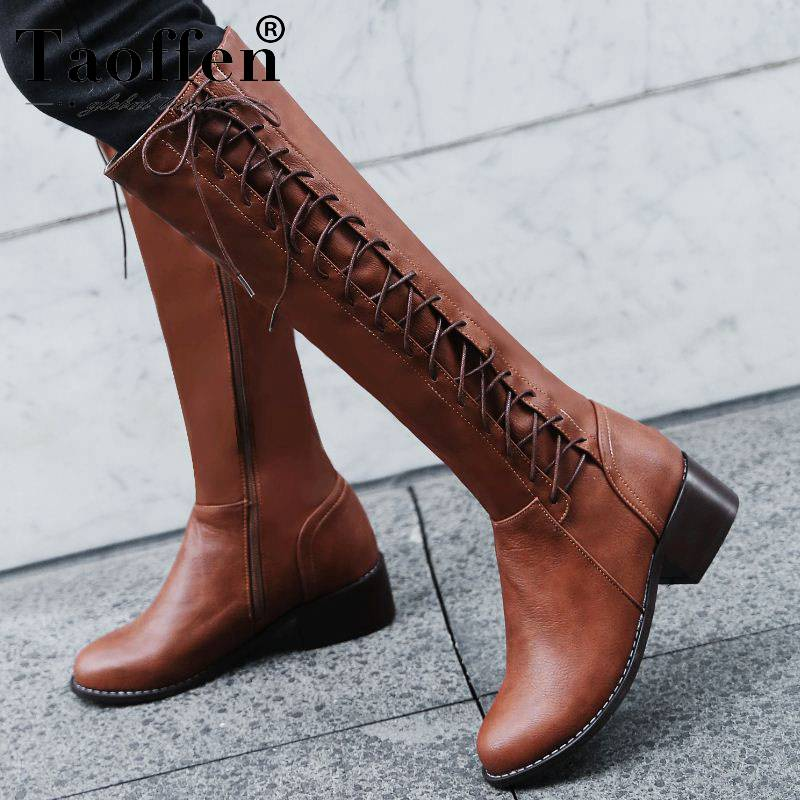 Taoffen Plus Size 33-50 Knee High Boots Short Plush Block Low Heel Zip Women Boots Lace Up Keep Slim Round Toe Boots