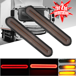 2x Waterproof LED Trailer Truck Brake Light 3 in1 Neon Halo Ring Tail Brake Sequential Flowing Turn Signal Light Lamp Auto LED