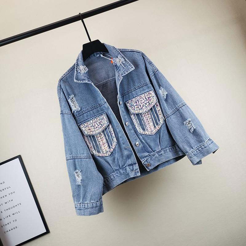 2020 Autumn Korean Women's Loose Casual Denim Short Jacket Woman Heavy Sequin Holes Jeans Coat Student Jean Jackets Streetwear