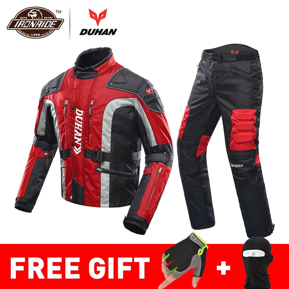 ドゥーハン秋冬の寒プルーフオートバイジャケットモト + プロテクターオートバイパンツ Moto スーツツーリング防護服セット  グループ上の 自動車 &バイク からの ジャケット の中 1