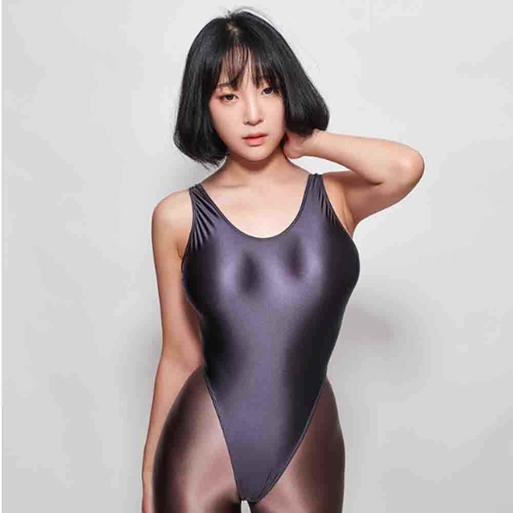 shehang Satin Glossy Leotards Sexy Bikini Thong Bodysuit Women Glitter Shiny One Piece Swimwear Bathing Suit LEOHEX