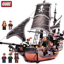 GUDI 652pcs Caribbean Black Pearl Ghost Ship large Models Building Blocks educational Birthday Gift Compatible Legoingly цены