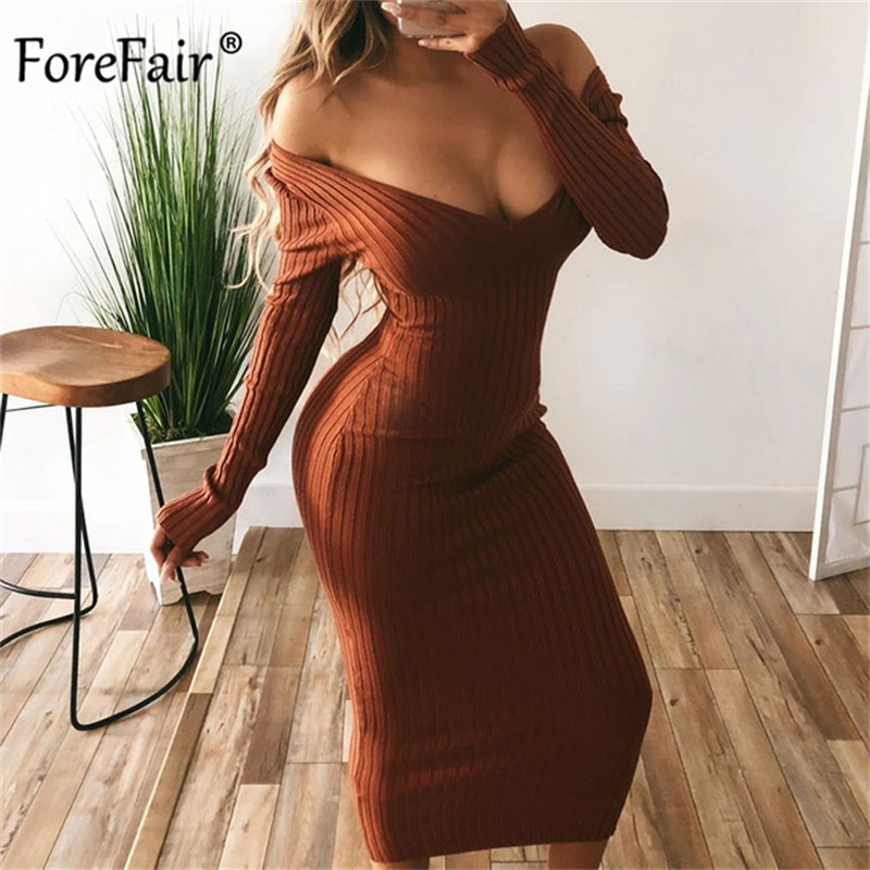 Forefair Long Sleeve V Neck Bodycon Ribbed Knit Dress Women 2021 Autumn...