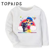 Crianças verdadeiro e o arco-íris reino dos desenhos animados imprimir engraçado camiseta crianças casual encabeça bebê meninos meninas manga longa t camisa, lkp5359