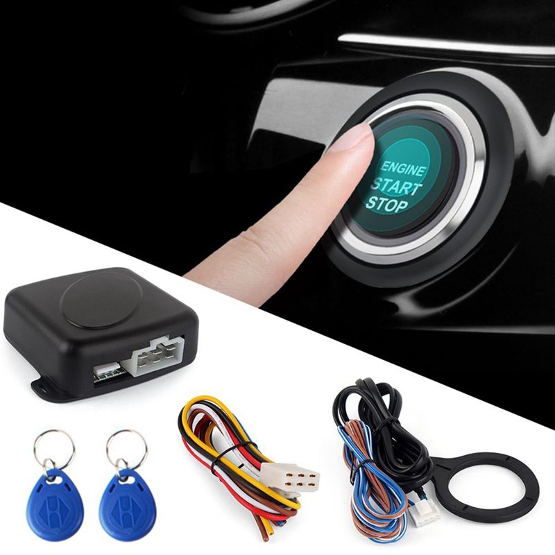 Smart RFID Car Alarm System Push Engine Start Stop Button Lock Ignition Immobilizer with Remote Keyless Go Entry System 12V