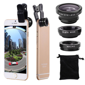 Wide Angle Mobile Phone Camera Lens Fish Eye Macro Lens for Iphone 7 8 6 X 11 Universal 3 In 1 Smartphone Fisheye Lens with Clip