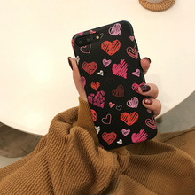 Doodling heart pattern silicone case for iPhone 8 8Plus 6 6s plus 7 cover suitable phone 7Plus X XR XSMAX Soft TPU no fading