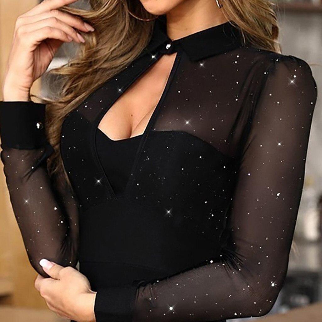 Skirt Fashion Hot Sexi Women Long Sleeve Glitter Semi Sheer Mesh Patchwork Slim Work Dress Sukienka