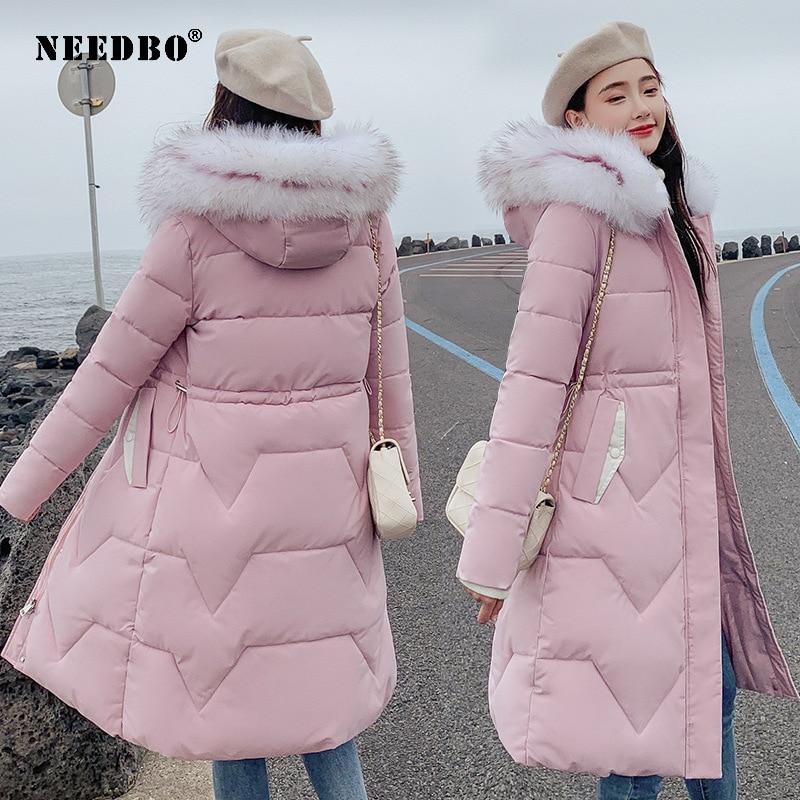 NEEDBO, зимняя куртка для женщин, меховой воротник, длинная парка, повседневная, тонкая, для женщин, зимние пальто и пуховик, стеганая верхняя од...