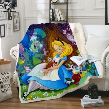 Fairy tale world Mermaid animal 3D Blanket Fleece Cartoon Print Children Warm Bed Throw Blanket newborn bayby Blanket style-1 flamingos print blanket 1 pc