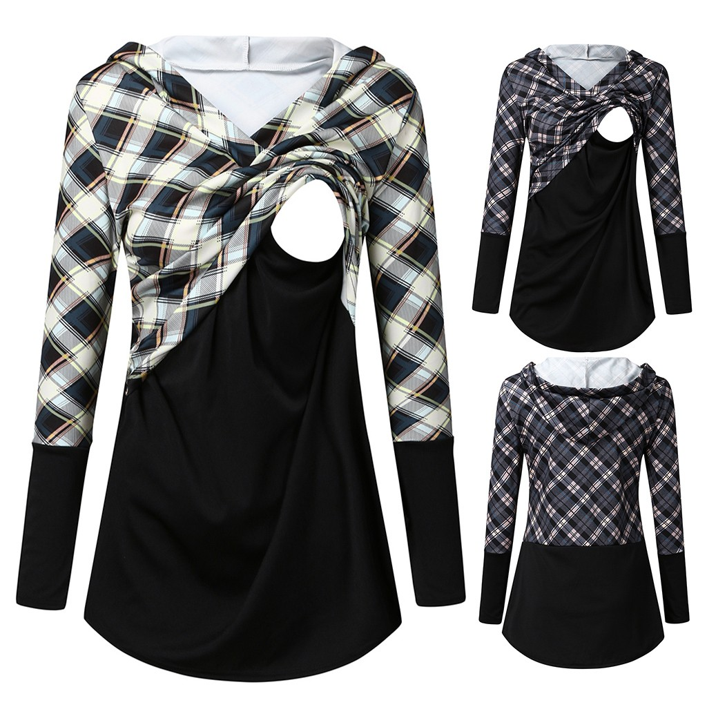 Maternity Clothes Ropa Embarazada Tee Shirt Tops Women Maternity Long Sleeve Plaid Printed Nursing Pullover Hoodie Sweatshirts