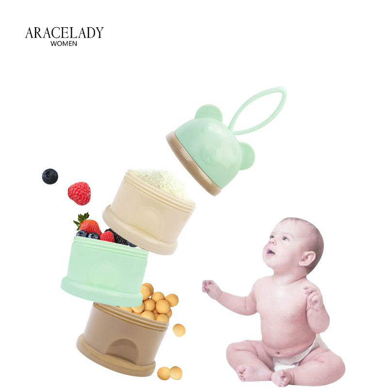 3 Layer Cartoon Portable Baby Food Storage Boxs Essential Cereal Cartoon Milk Powder Boxes Toddle  Formula Milk Container Kids L