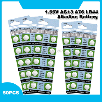 50pcs Alkaline Cell Coin Battery 1.55V AG13 LR44 Button Batteries LR1154 SR44 A76 357A 303 357 AG 13 For Watch Toys image