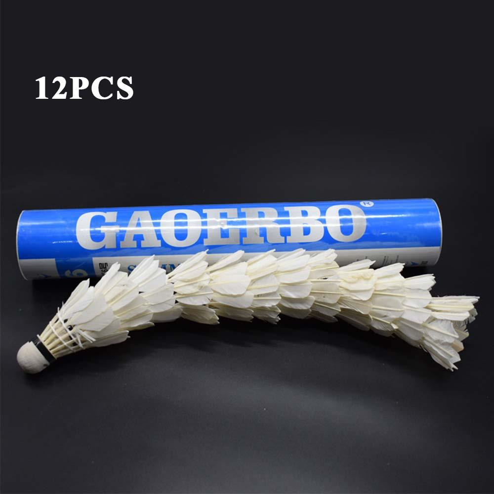 12Pcs/lot Durable Badminton Balls Goose Feather Shuttlecocks With Goose Feather White For Training Game Sport Training Exercise
