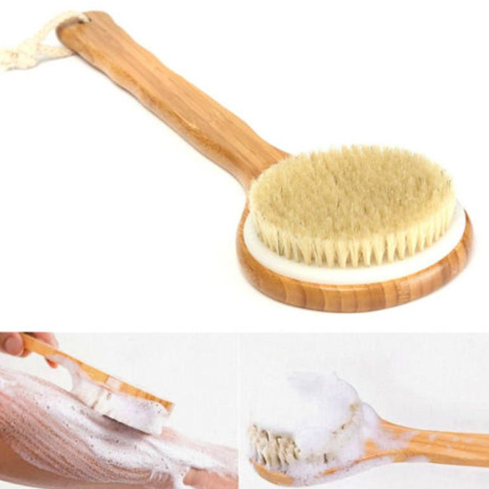 Bath Dry Body Brush Natural Boar Bristles Shower Back Scrubber with Wooden Long Handle for Cellulite, Exfoliation, Detox