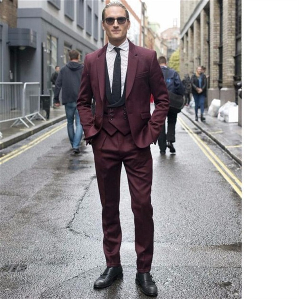 New Men's Suit Smolking Noivo Terno Slim Fit Easculino Evening Suits For Men Latest Coat Pant Designs Burgundy Double Breasted