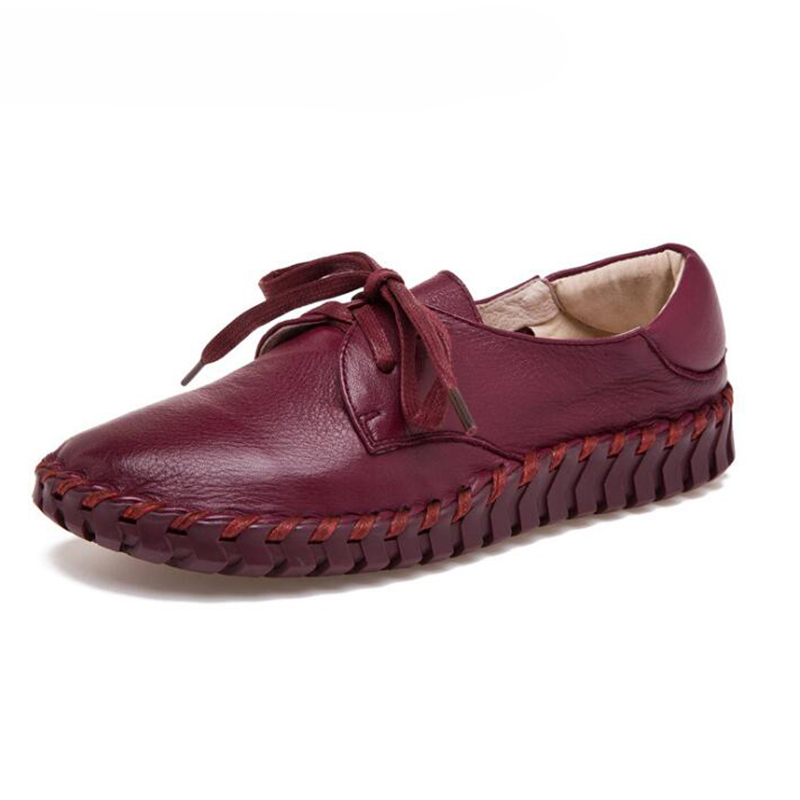Women's Shoes Soft Genuine Leather Flats Fashion Casual Woman Driving Loafers Moccasins Shoes Large Size 35-41