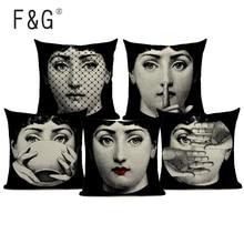 Vintage Art Beauty Face Cushion Cover Linen Custom Black and White Throw Pillow Case Home Sofa Decorative Pillowcase