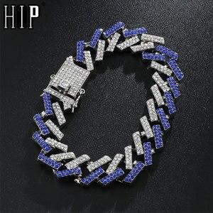 Hip Hop 15MM Bling Iced Out Full Rhinestone Bracelet Geometric AAA CZ Stone Cuban Chain Bracelets For Men Jewelry