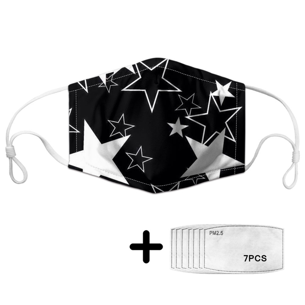 Classic Five-pointed Star Pattern Face Mouth Mask Women/Kids Reusable Masks With 7 Filters Soft Comfortable Protective Masque